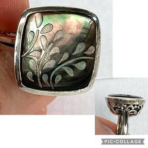 Silpada Retired Black Lip Shell Etched Ring 6.75